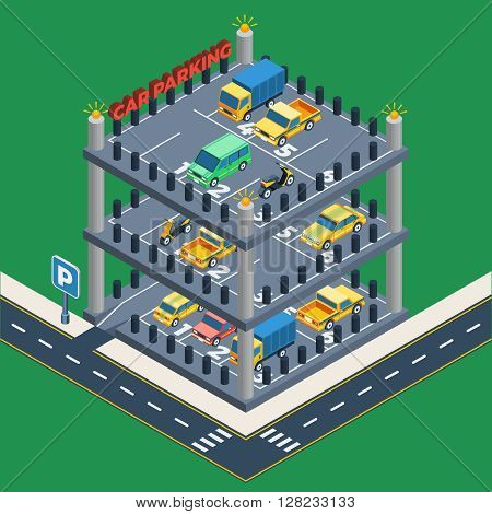 Car Parking Concept. Car Parking Building. Car Parking Design. Car Parking Isometric Illustration. Car Parking Vector.