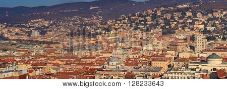 Top view of St. Antonio church and the Serbian Orthodox church of St. Spyridon Trieste. Italy