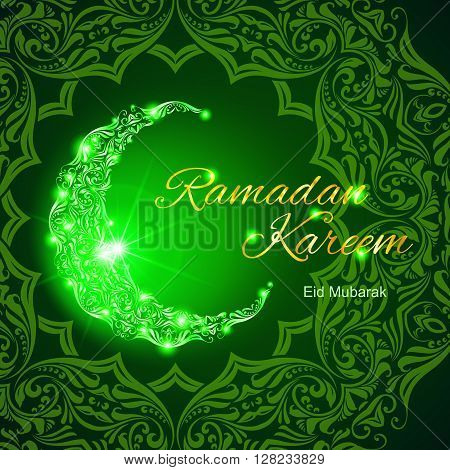 Glowing ornate crescent with bright flare and asian floral ornament in background. Illustration in green shades. Greeting card of holy Muslim month Ramadan