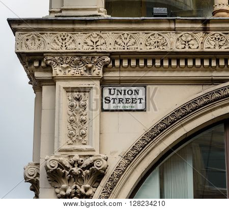 GLASGOW SCOTLAND - JUNE 03 2015: Architectural detail of the Ca' D'Oro Building at the corner of Union Street and Gordon Street in Glasgow Scotland.