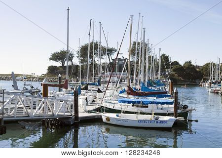 SANTA CRUZ CALIFORNIA USA-NOVEMBER 8 2014 : Sailboat harbor in Santa Cruz constructed in 1964 and expanded in 1973 the harbor provides over 800 permanent slips