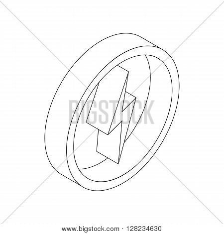 Lightning bolt icon in isometric 3d style on a white background