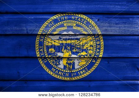 Flag Of Nebraska State, Painted On Old Wood Plank Background