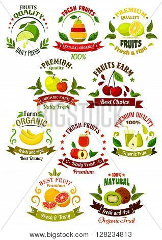 Organically grown farm fruits retro icons for agriculture, eco farming, organic shop or local market design template with fresh apples, lemons, kiwi, pears, bananas, peach, cherries, oranges and limes, framed by colorful ribbon banners, juice drops, leave