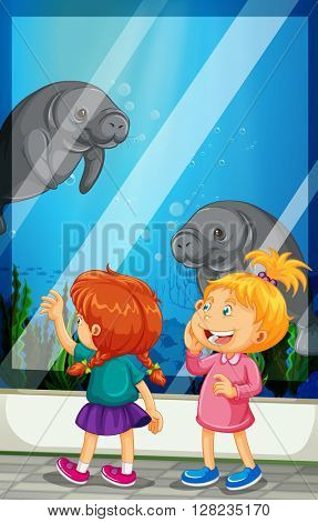 Girls looking at manatee swiming in the tank illustration