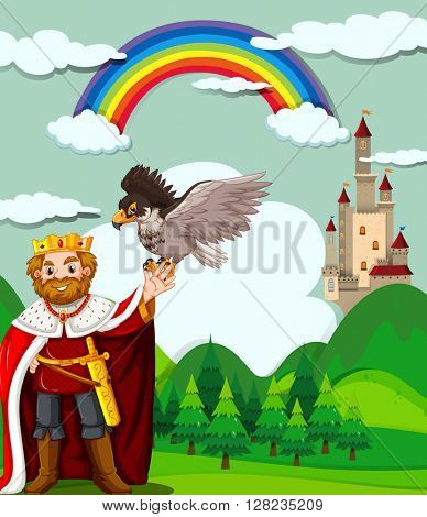 King and eagle in the field illustration