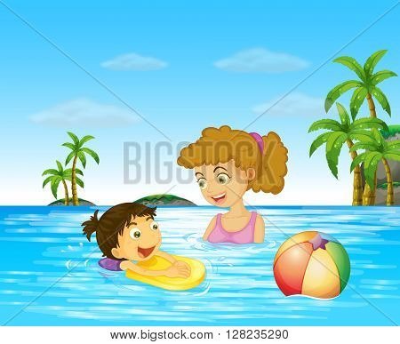 Mother and kid swimming in the ocean illustration