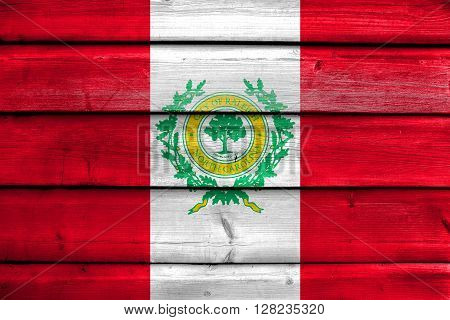 Flag Of Raleigh, North Carolina, Painted On Old Wood Plank Background