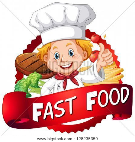 Food poster with chef and food illustration