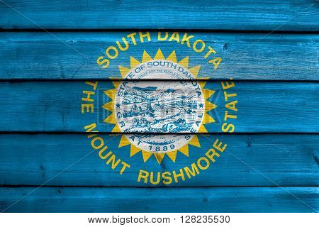 Flag Of South Dakota State, Painted On Old Wood Plank Background