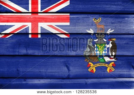Flag Of South Georgia And The South Sandwich Islands, Painted On Old Wood Plank Background