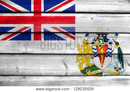 Flag Of The British Antarctic Territory, Painted On Old Wood Plank Background