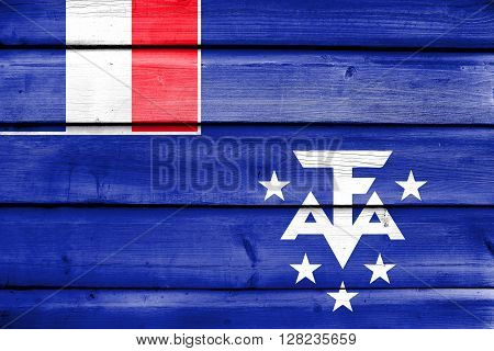 Flag Of The French Southern And Antarctic Lands, Painted On Old Wood Plank Background