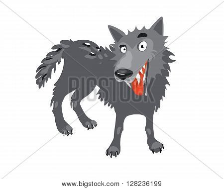 Cartoon toothy wolf grey the nature of the character. The wolf stuck out his tongue and looking into your eyes. Vector illustration.