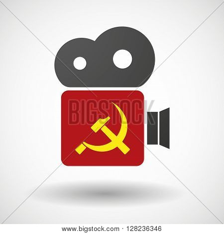 Isolated Cinema Camera Icon With  The Communist Symbol