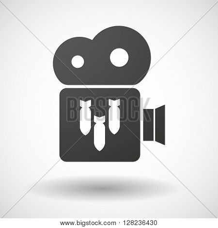Isolated Cinema Camera Icon With Three Bombs Falling