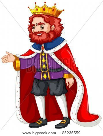 King in purple costume and red robe illustration