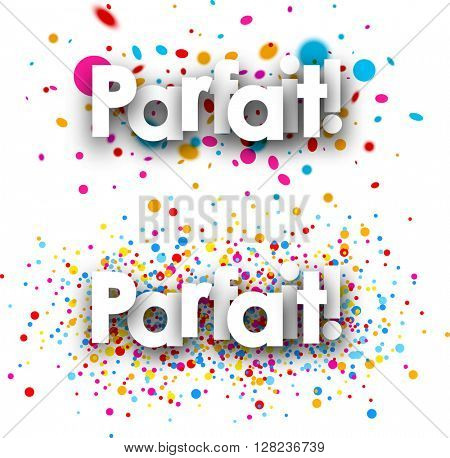Perfect paper banners set with color drops, French. Vector illustration.