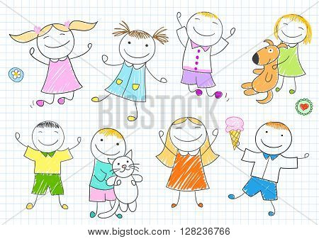 Happy children. Smiling girls and boys with cat, dog and ice-cream. Vector sketch in doodle style on notebook page