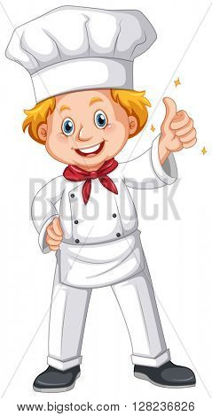 Chef in white uniform illustration