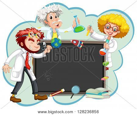 Three scientists by the board illustration