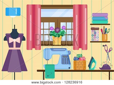 Sewing workshop. Sewing machine and mannequin. Iron, scissors and buttons. Living room. Vector illustration of handmade tools. Handmade workshop. Flat style. Work place