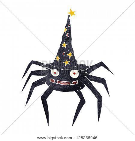 freehand retro cartoon halloween spider in witch hat