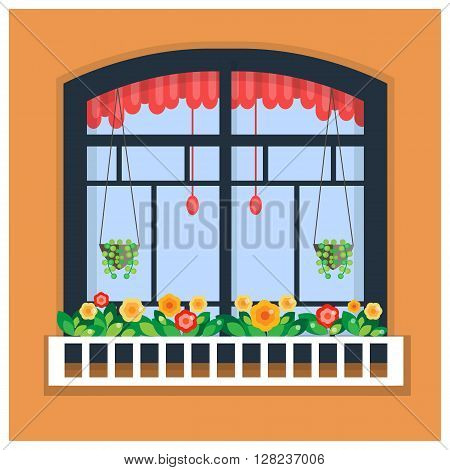 Vector illustration of window with flowers. Plants in the pots. Window for constructing house. Flat style. Urban street design