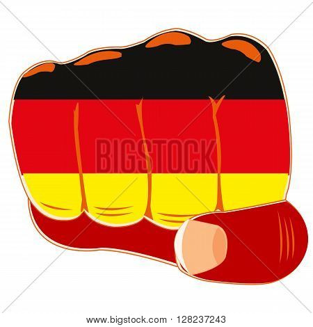 Vector illustration of the flag of the germany on fist of the person