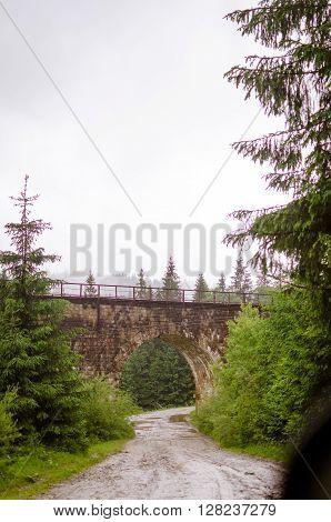 Old Railway. Green landscape. Ukraine Carpathians view