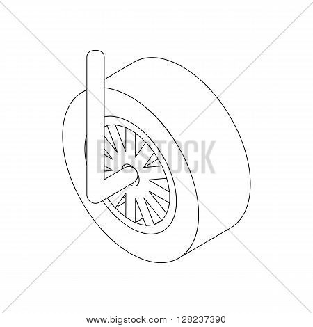 Wheel for racing car icon in isometric 3d style isolated on white background
