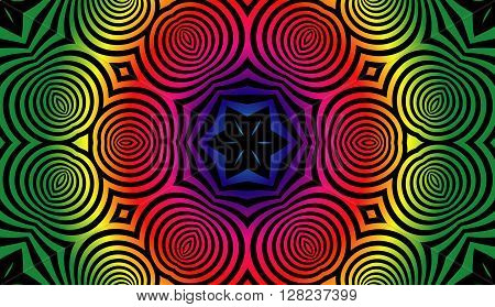 Abstract illusion texture pattern lines in the form of a convex symmetrical ellipse pattern in a square on a gradient background color spectrum