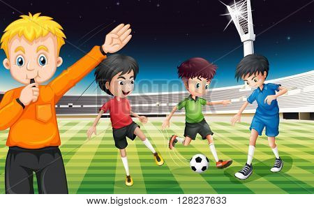 Football players playing ball at the stadium illustration