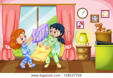 Two girls playing pillow fight illustration