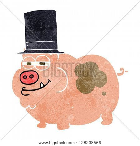 freehand retro cartoon rich pig