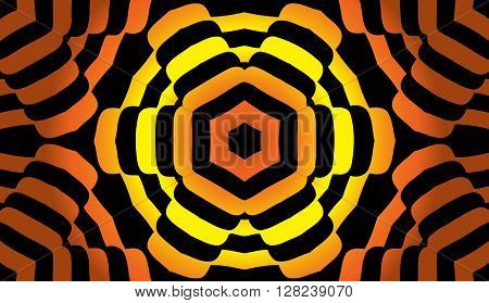 Abstract illusion texture pattern lines in the form of a convex symmetrical pattern of circles in a square on a gold gradient background