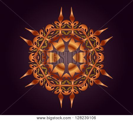 Abstract illusion texture pattern lines in the form of a convex symmetrical pattern in a square on gradient background atemnom