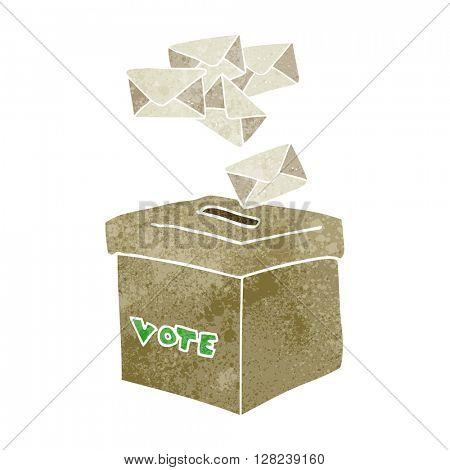 freehand retro cartoon ballot box