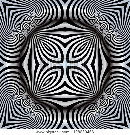Abstract illusion texture pattern lines in the form of a convex symmetrical circle pattern in a square on a gray gradient background