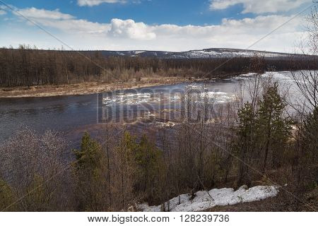 Spring on the Chulman river in South Yakutia Russia