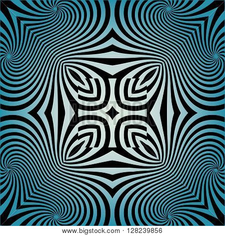 Abstract illusion texture pattern lines in the form of a convex symmetrical diamond pattern in a square on a blue background