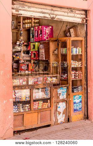 MARRAKECH MOROCCO - OCTOBER 21 2015: A small grocery shop in central Marrakech Morocco.
