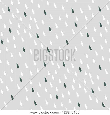 Rain seamless vector pattern. raindrops, grey, white