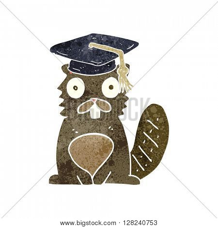 freehand retro cartoon beaver graduate