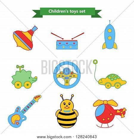 Set of vector icons of toys. Collection of toys for children. Vector illustration in a flat style. Vector elements for web design, mobile applications, design flyers, discounts and advertising