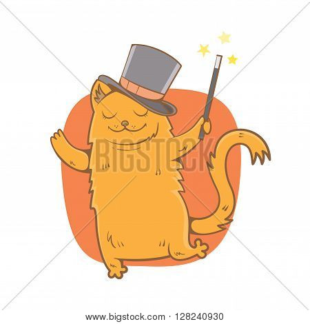 Magic card with cute cartoon  cat  in  hat magician. Magic wand. Vector image. Children's illustration. Vector image.