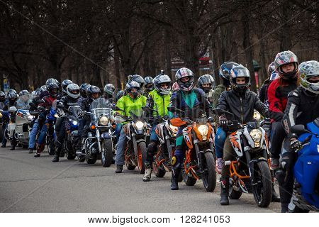 Moscow Russia - April 23 2016: Motorcyclists open the spring season. The group of motorcyclists on the road. Russian riders. Focus on the middle ground.