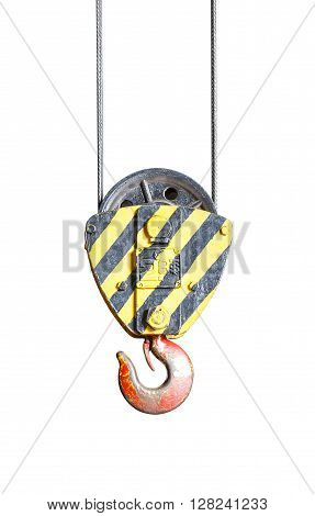 Isolated black and yellow cranes hooks hanging on steel with clipping path