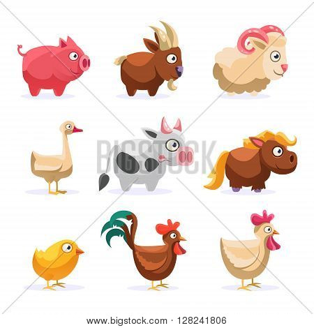 Farm Animals Collection Simplified Cute Illustration In Childish Colorful Flat Vector Design Isolated On White Background