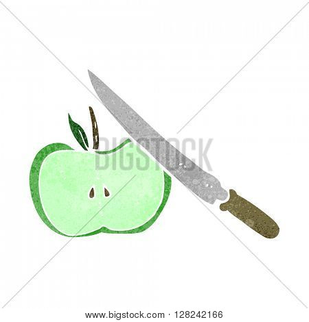 freehand retro cartoon apple being sliced